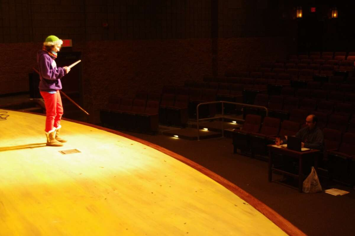 """The stage is a scary and lonely place during auditions -- but most showed outstanding talent as they tried out for roles in the upcoming Manistee High School Drama production of """"Annie."""" (Dave Yarnell/News Advocate)"""