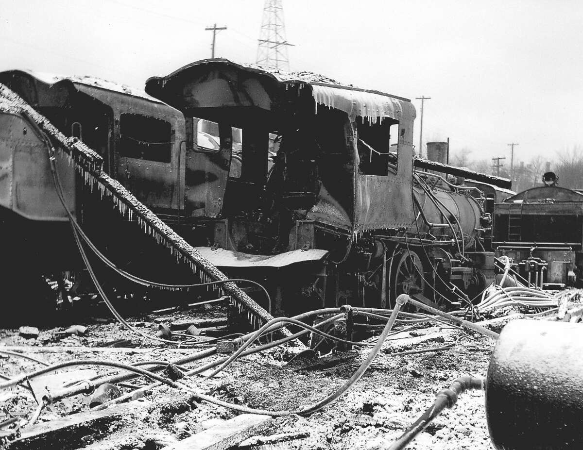 This photo shows railroad equipment damaged in the mid-1900s Manistee & Northeastern Railroad roundhouse fire. (Courtesy Photo/Bill Ferguson)