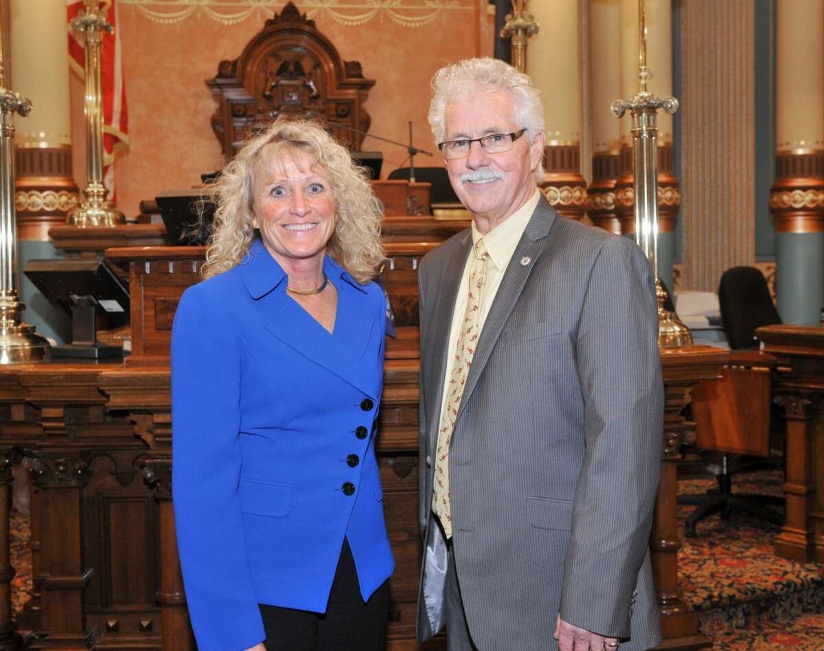 State Senator Darwin Booher (R, Evart) who represents the 35th District that includes Manistee invited Lake-Osceola Bank chairman/CEO Deb Smith-Olson as his guest to the State of the State address this week. (Courtesy photo)