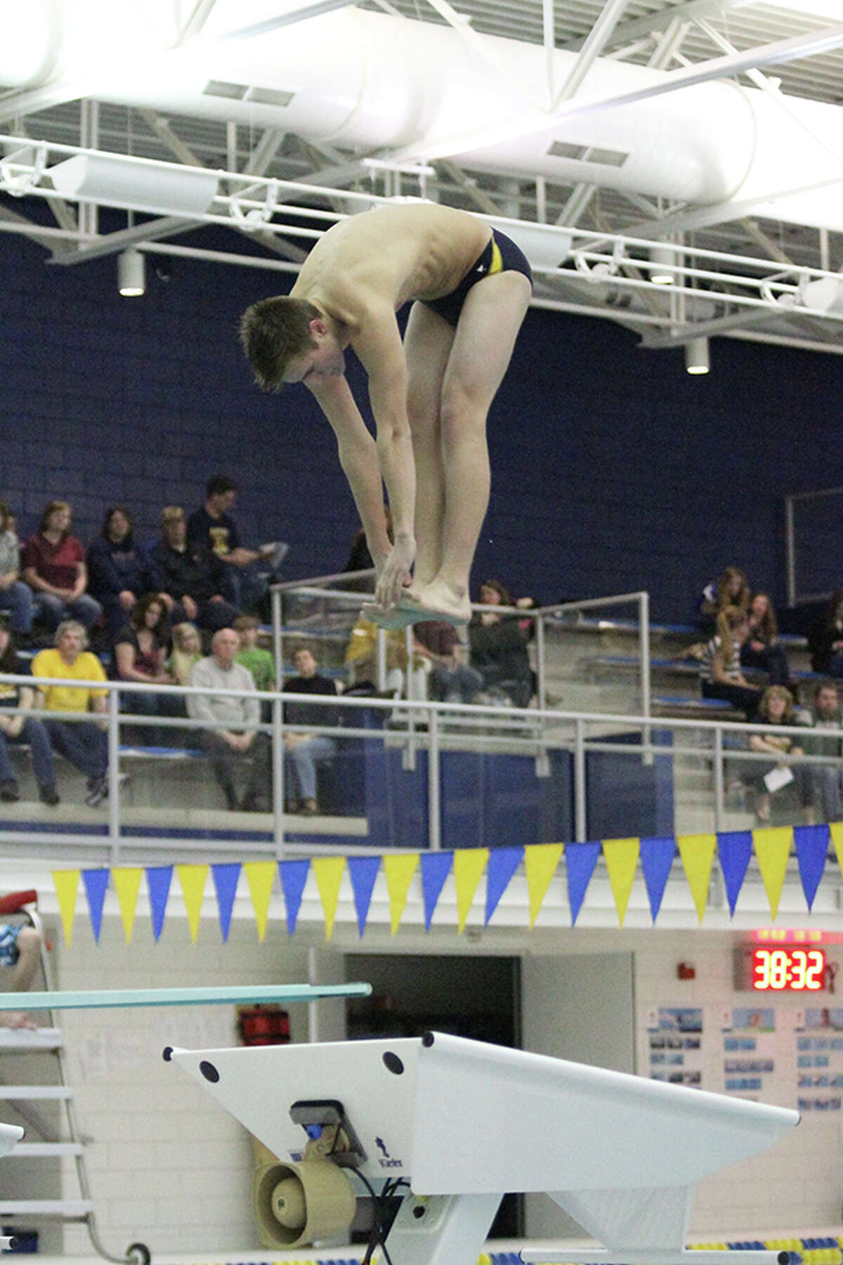 Manistee's Ben Tomaszewski finished second in diving. (Dylan Savela/News Advocate)