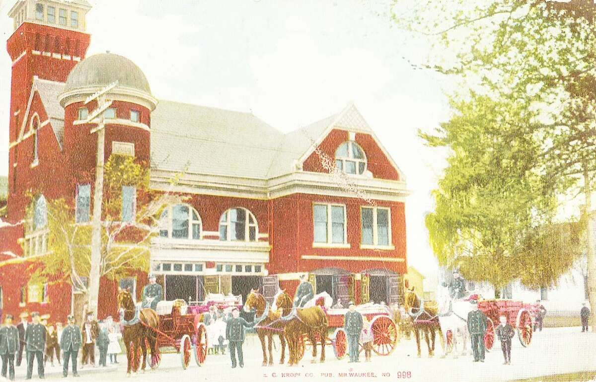 A late 1800s view of the Manistee Fire Hall when the fire engines were pulled by horses. (Courtesy Photo)