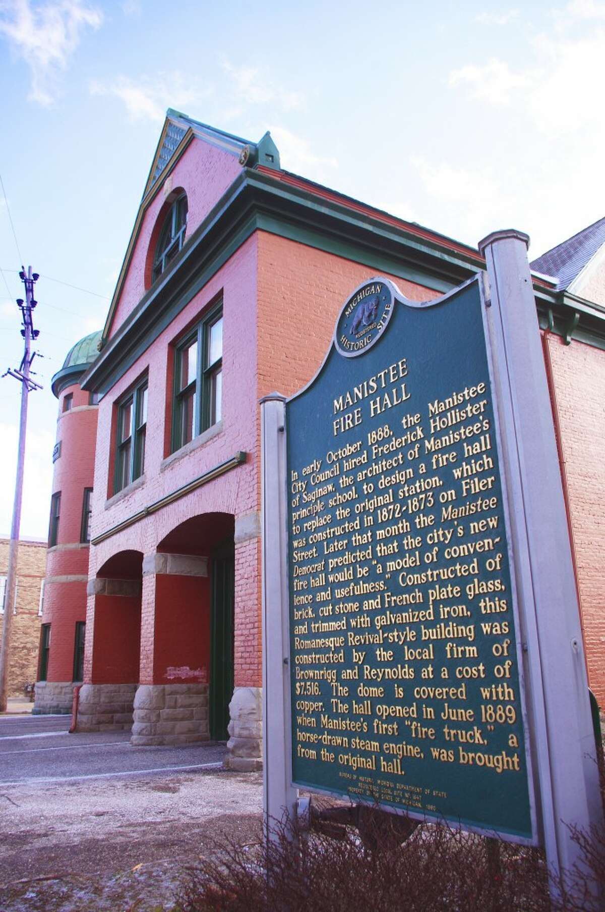 Like many building in Manistee, the fire hall is listed as a Michigan historic site. (Dave Yarnell/News Advocate)