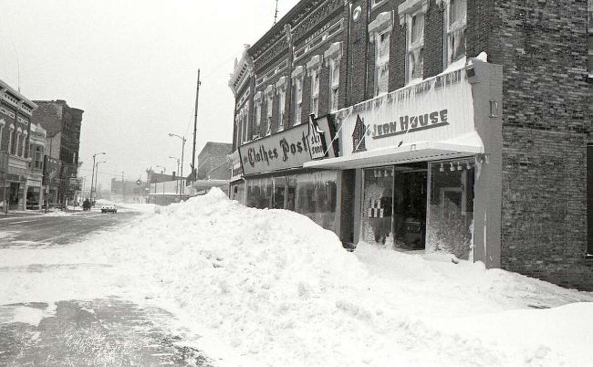 Looking west down River Street after the blizzard of January 1978.