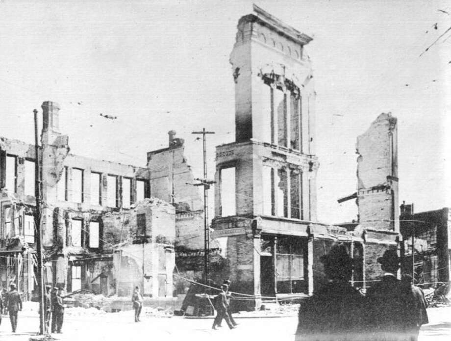 Formerly situated on the corner of River and Maple streets, the Engelmann Block was destroyed by fire in May of 1909.