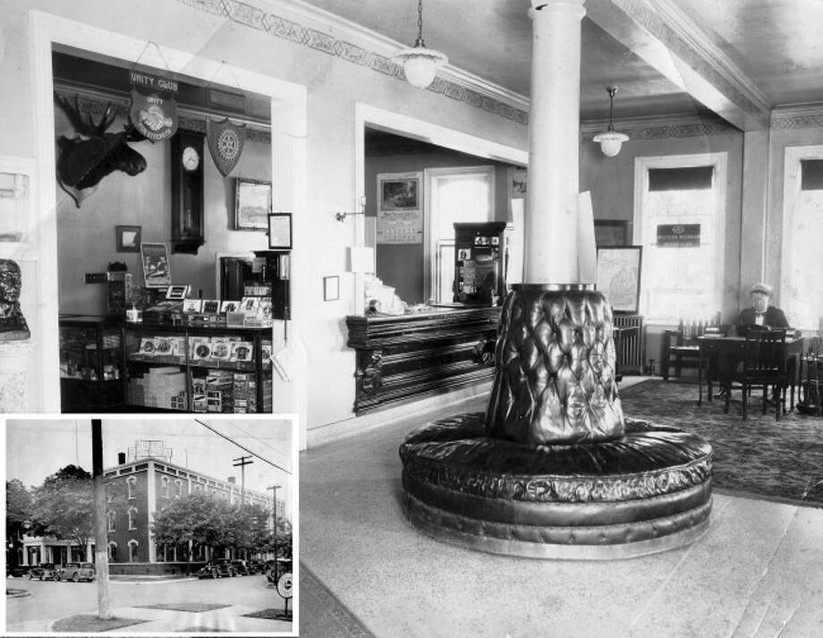 In 1917, the vacant Dunham House was refurbished to become the Hotel Chippewa. The above photograph shows a partial view of the lobby of the hotel circa 1920. INSET: The exterior of the Hotel Chippewa circa 1920s.
