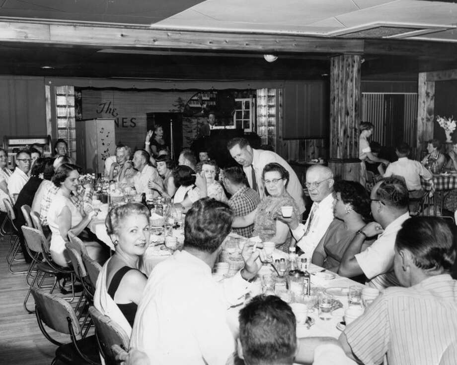 The Pines Restaurant was one of Manistee's finest eating locations during the 1950s and 60s as evident by this photograph from the mid 1950s. The restaurant was located on M 55 at the present location of the new Meijer Store.