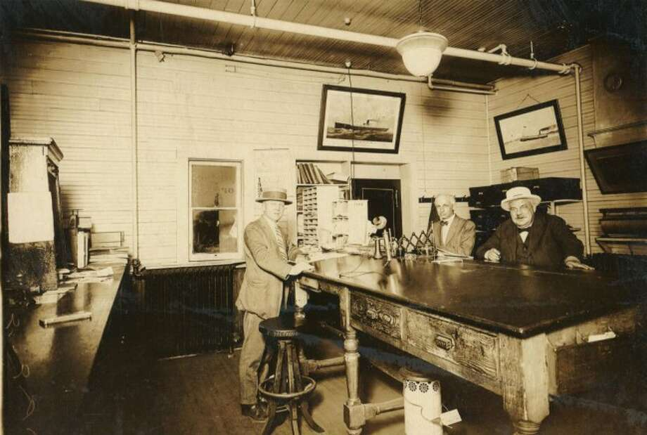 This circa 1900 photograph shows the inside of the local steamer office that operated boats out of the Manistee Harbor.