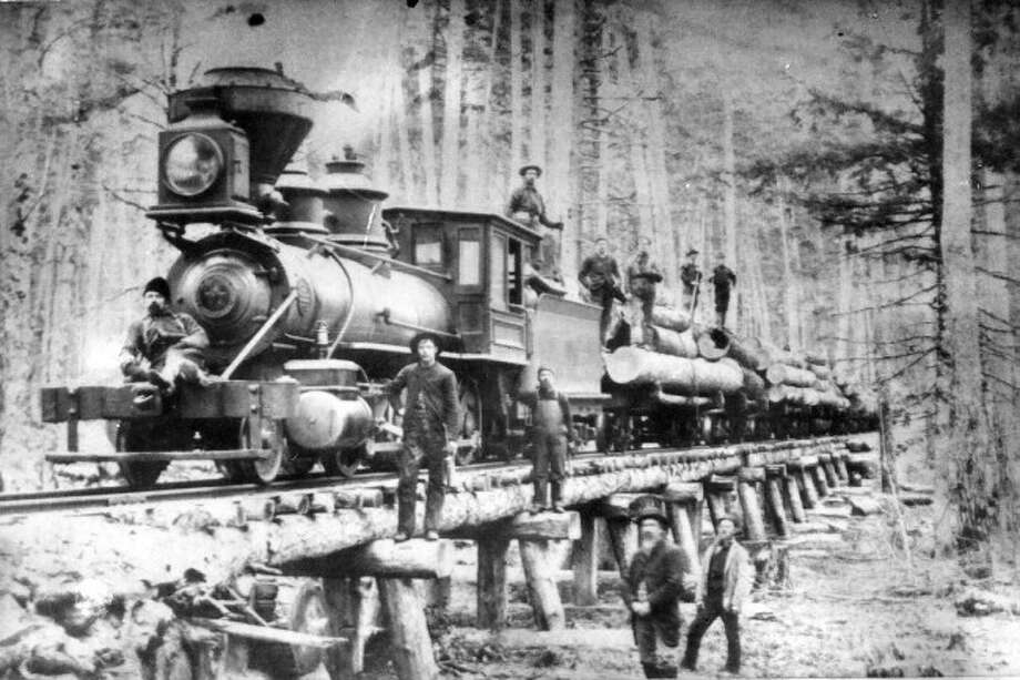 This train from the Canfield Logging camp is shown in this 1890s picture.