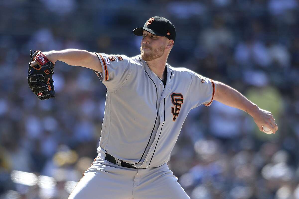 San Francisco Giants relief pitcher Will Smith works against a San Diego Padres batter on July 28, 2019. Keep reading this gallery for potential Giants trade-deadline targets.