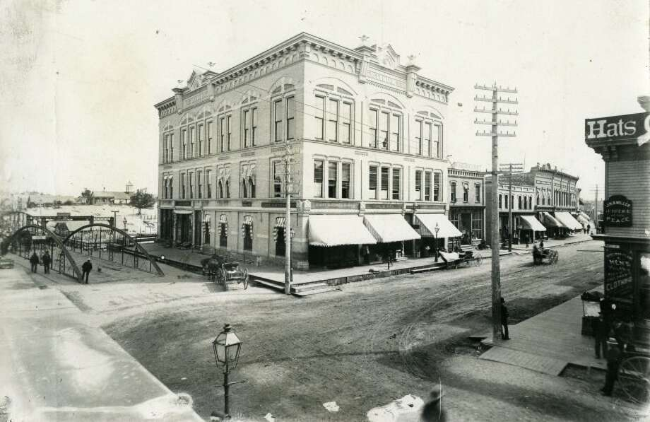 The Engelmann Building that was located at the corner of Maple and River streets where Glik's is presently located is shown in this 1890s picture.