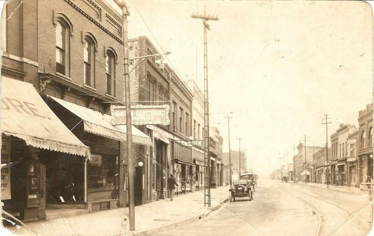Manistee's River Street is shown in this photograph from the 1920s.