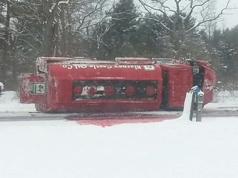 A tanker truck rolled on its side on U.S. 31 near Frost Road and is leaking fuel.