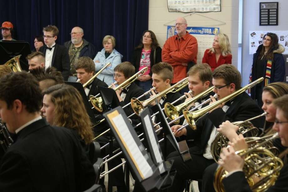 The Manistee Area High School Symphonic Band brass section puts out a big sound at Thursday's MSBOA festival.