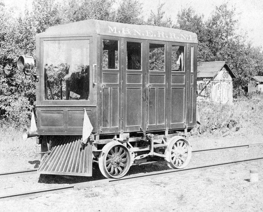 An inspection car for the Manistee Northeastern Railroad is shown in this early 1900 photo.