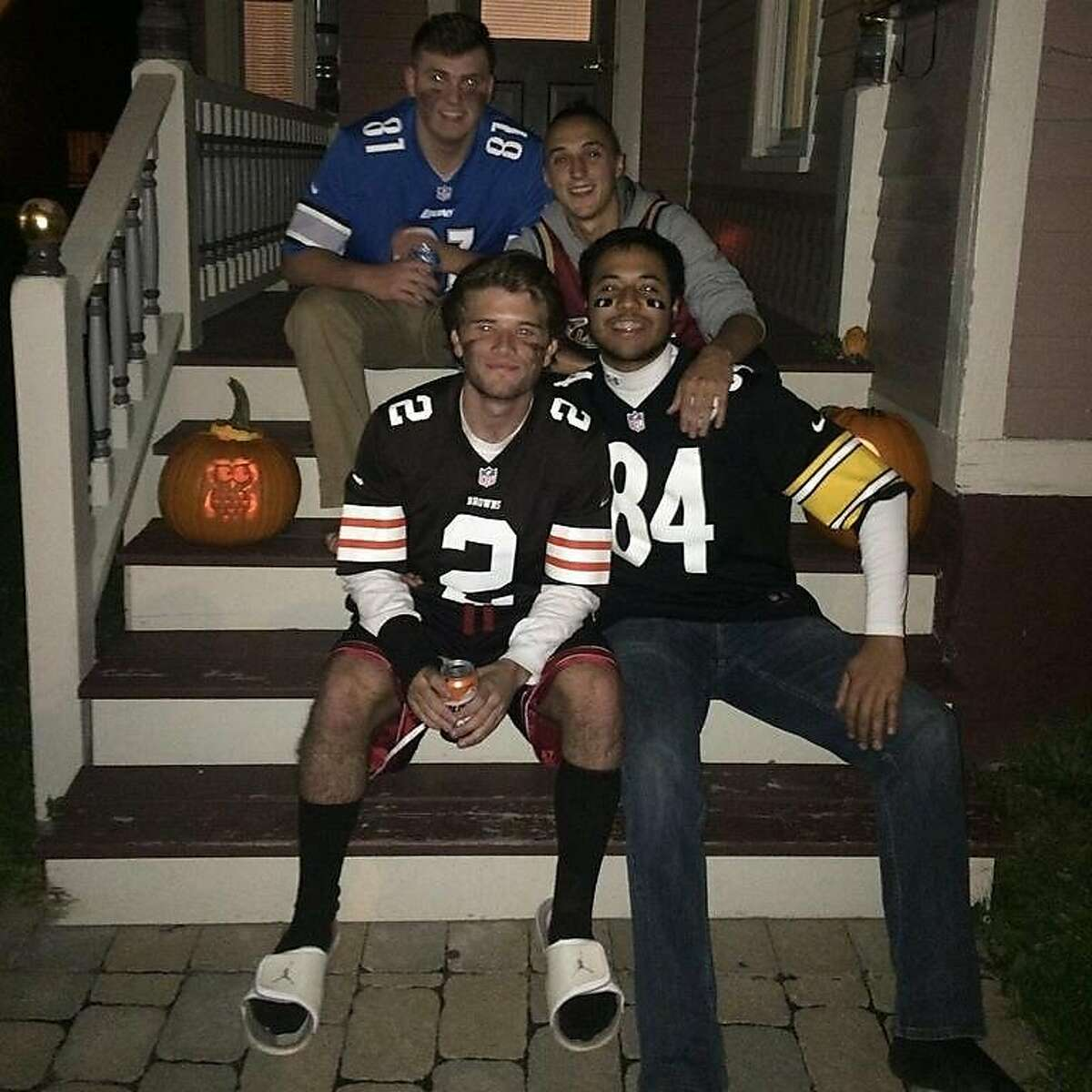 Trevor Irby celebrating Halloween with friends. Top left to right: Steven Wyrosdick, Ben Schreiber. Bottom left to right: Matt Hey, Trevor Irby