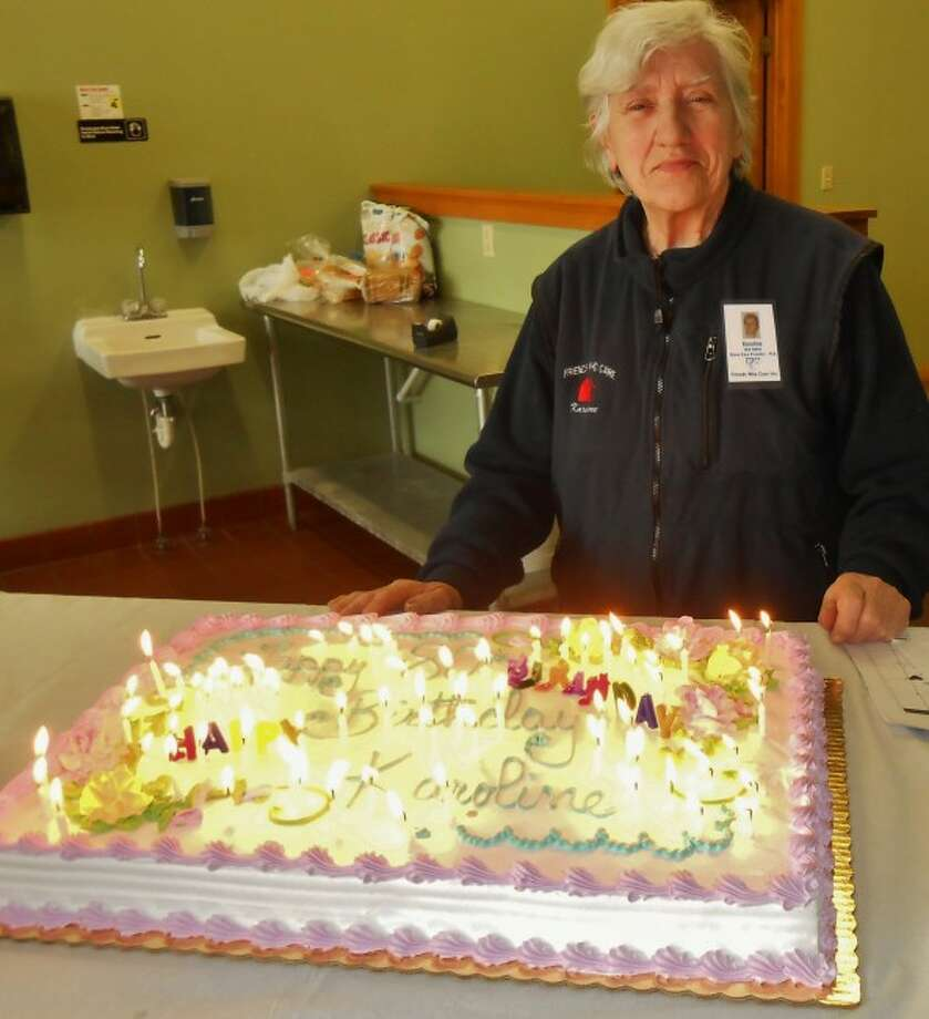 Karoline Thun Hohenstein celebrated her 80th birthday on January 31 and was honored by her fellow employees at Friends Who Care with a cake to mark the occasion. Thun Hohenstein is still working as an aide with the agency.