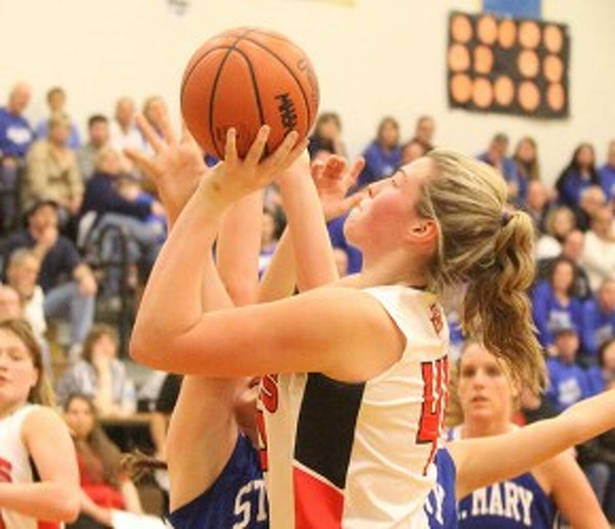 Bear Lake junior Emileigh Ferguson scores during a regional final loss to Gaylord St. Mary on March 7. (Matt Wenzel/News Advocate file photo)