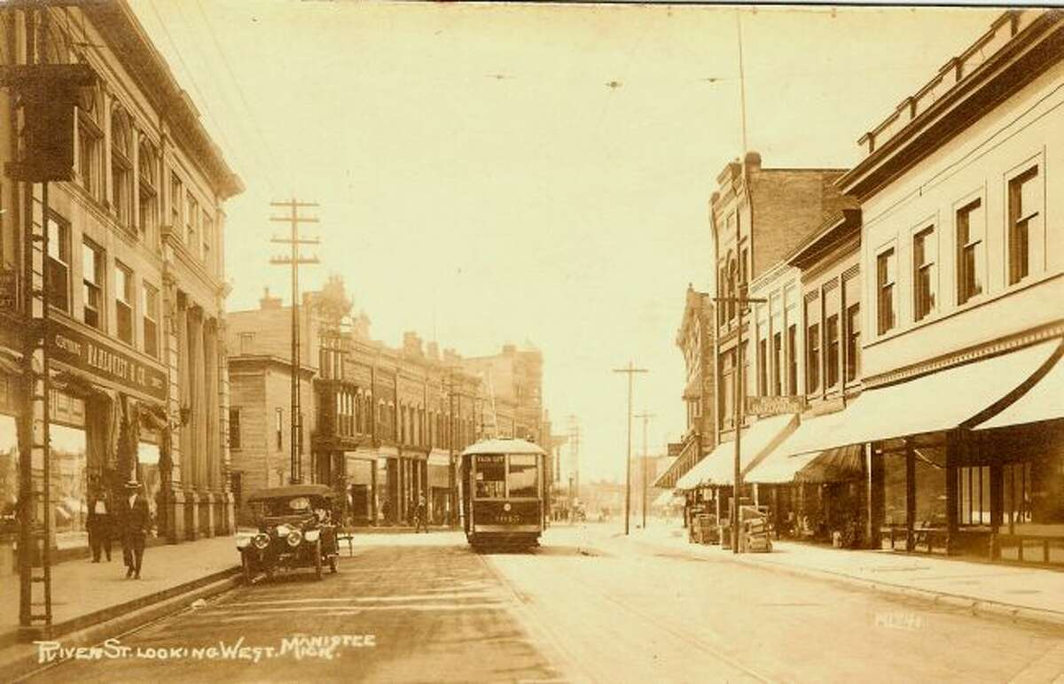 This 1920s view of River Street showed a much different view complete with trolleys that ran in the downtown area.