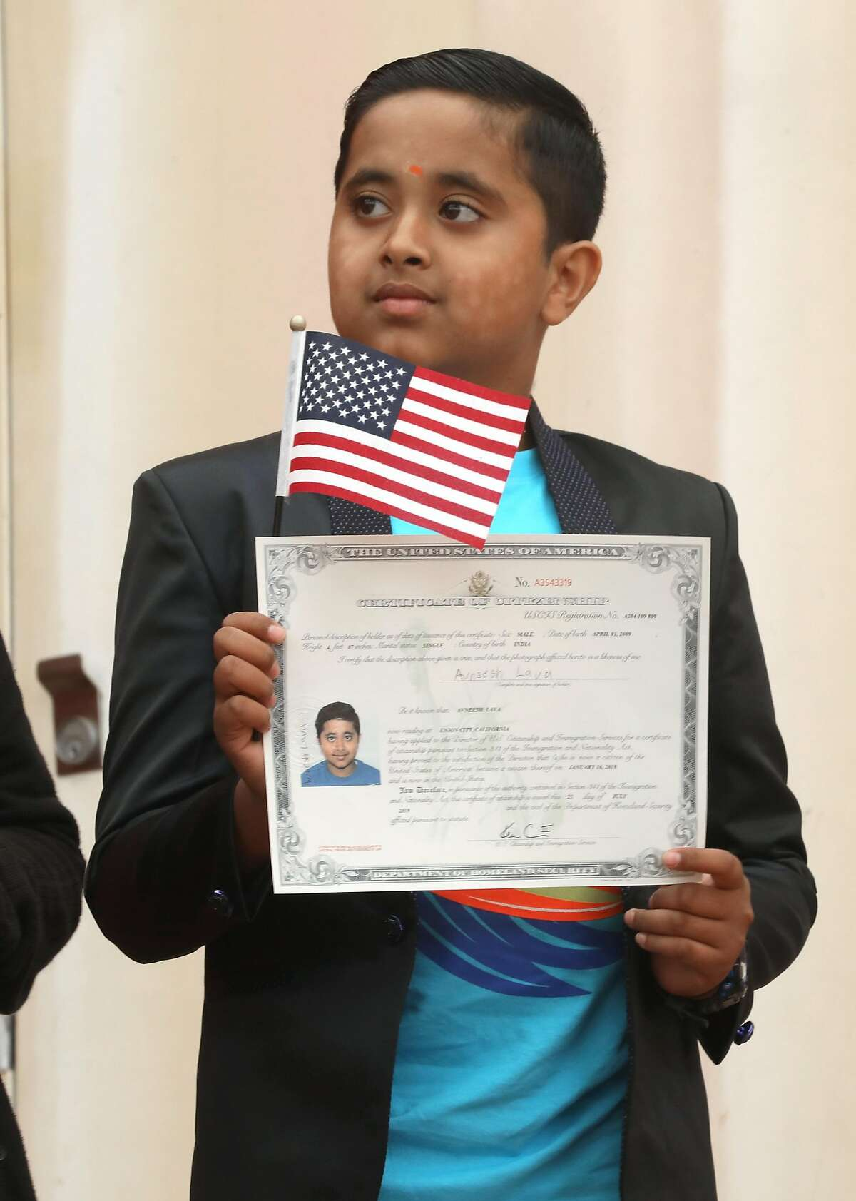 Avneesh Lava, 10years old, from Union City was one of twenty-six children ages 2-13 (from 13 countries) receiving certificates of citizenship at Children�s Fairyland from the U.S. Citizenship and Immigration Services on Monday, July 29, 2019 in Oakland, Calif.