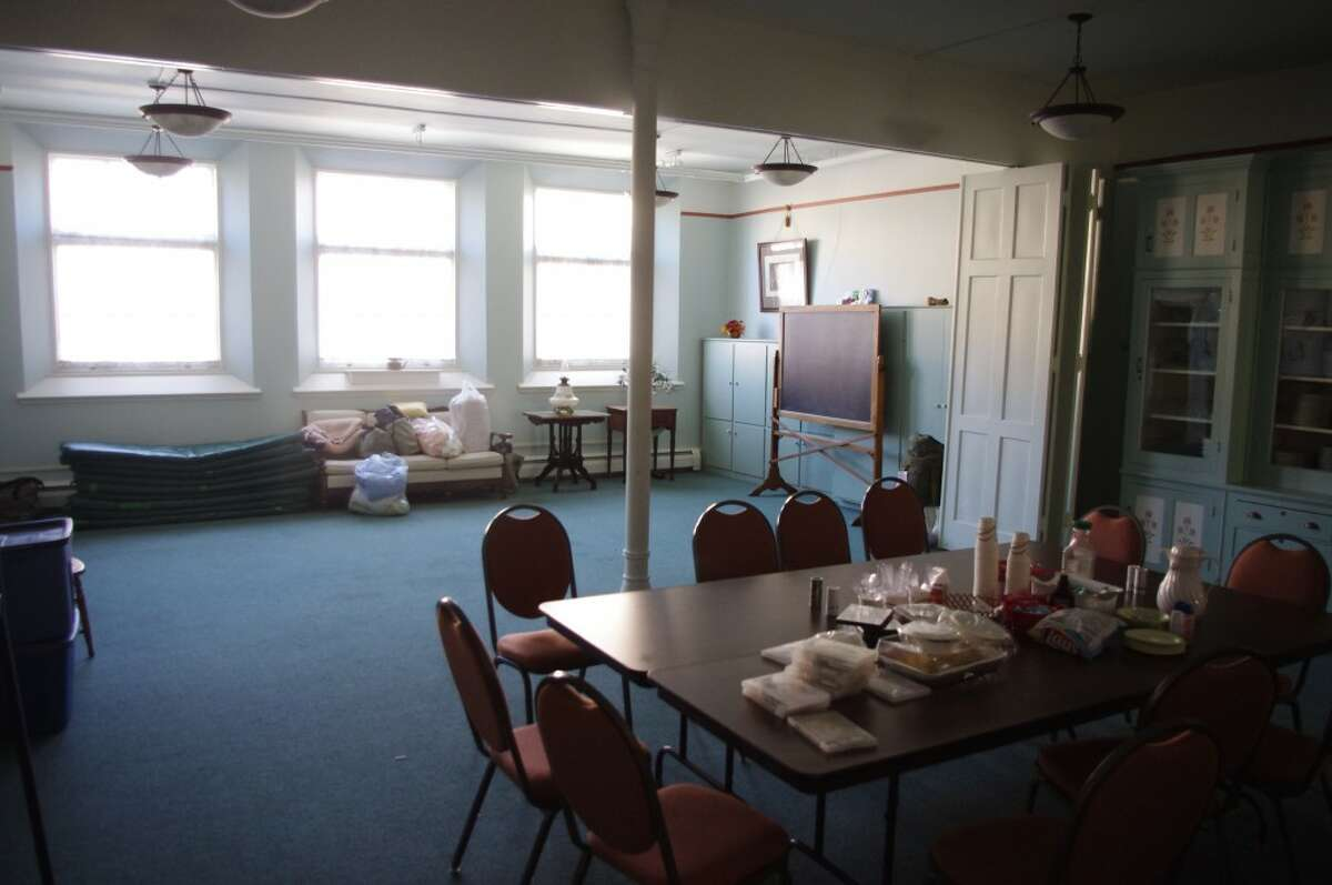 The dining room in the First Congregational Church does double duty -- also serving as sleeping quarters for Safe Harbor. (Dave Yarnell/News Advocate)