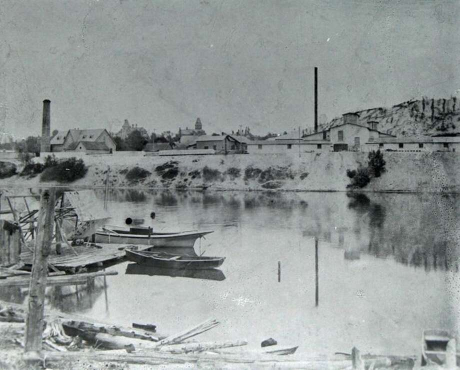 This 1890s picture shows the view looking south across the Manistee River Channel.