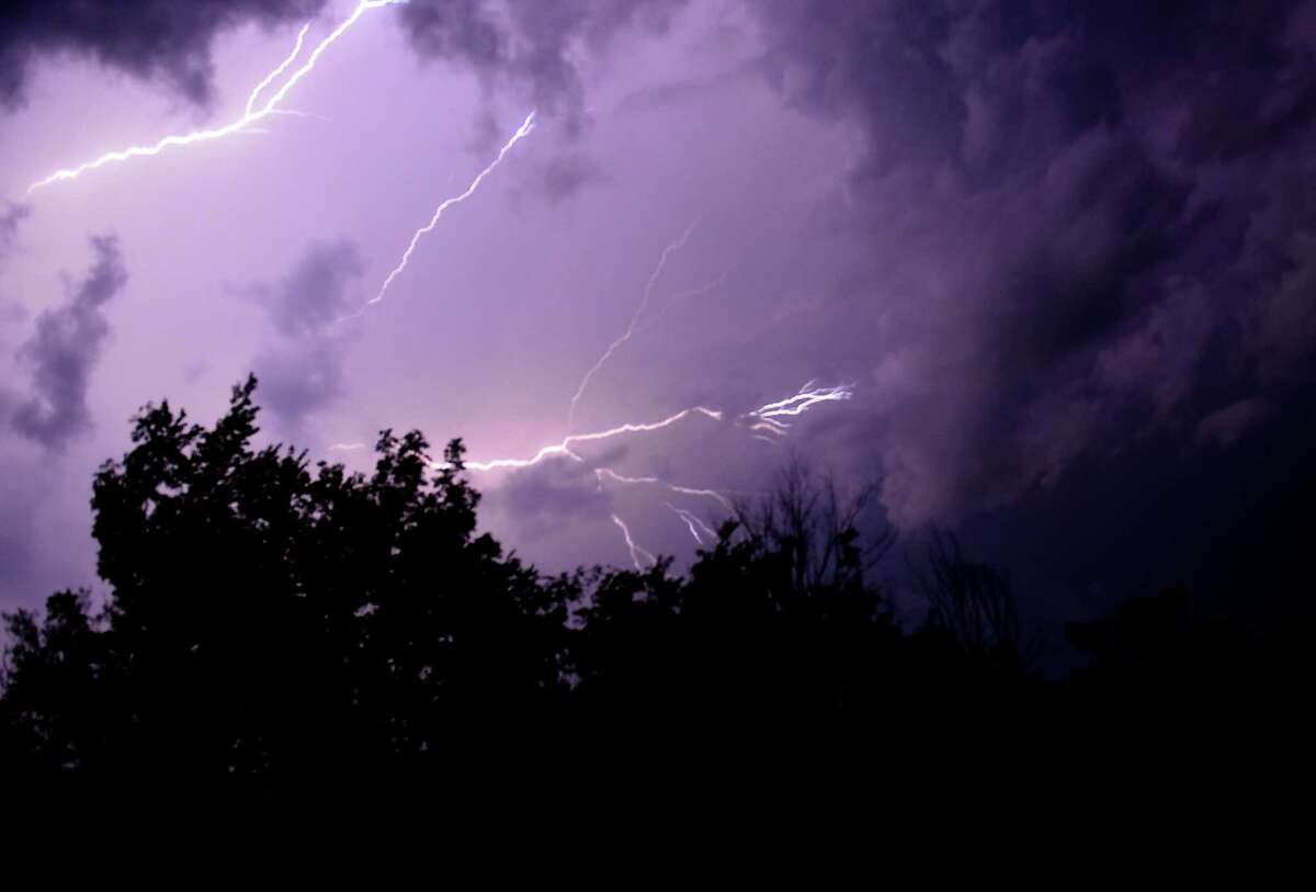 Lightning fills the sky on Monday, July 29, 2019 from Duanesburg, N.Y. (Lori Van Buren/Times Union)