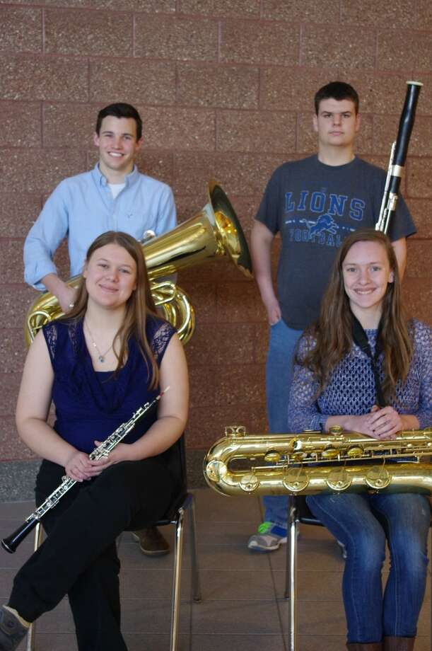 Four members of the Manistee School band were selected for the Western Michigan University All Star Band that will be performing at the James W. Miller Auditorium in Kalamazoo on April 11. Shown in the front row left to right are Natalie Fisk and Sarah Chandler. In the back row left to right are Edward Postma and Bradley Madsen.(Courtesy photo)