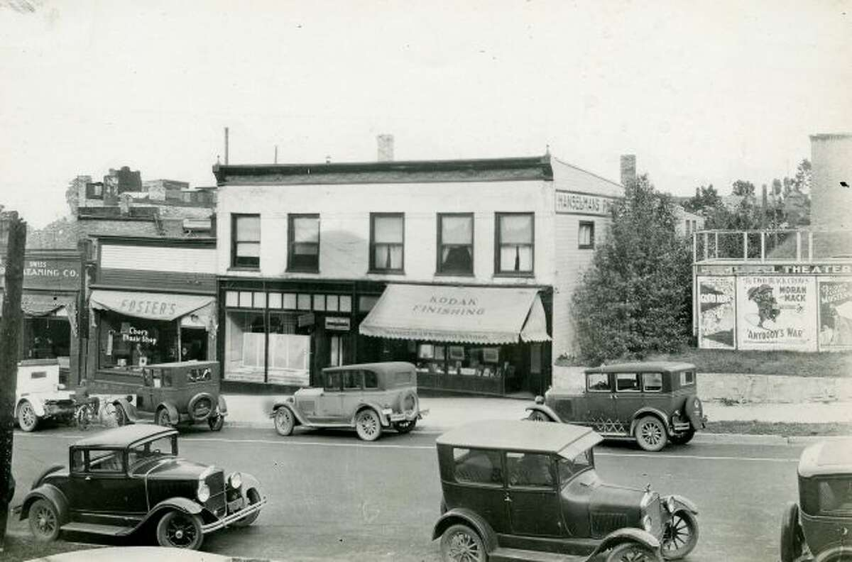This mid 1930s view shows what Maple Street looked like at that time across the street from City Hall.