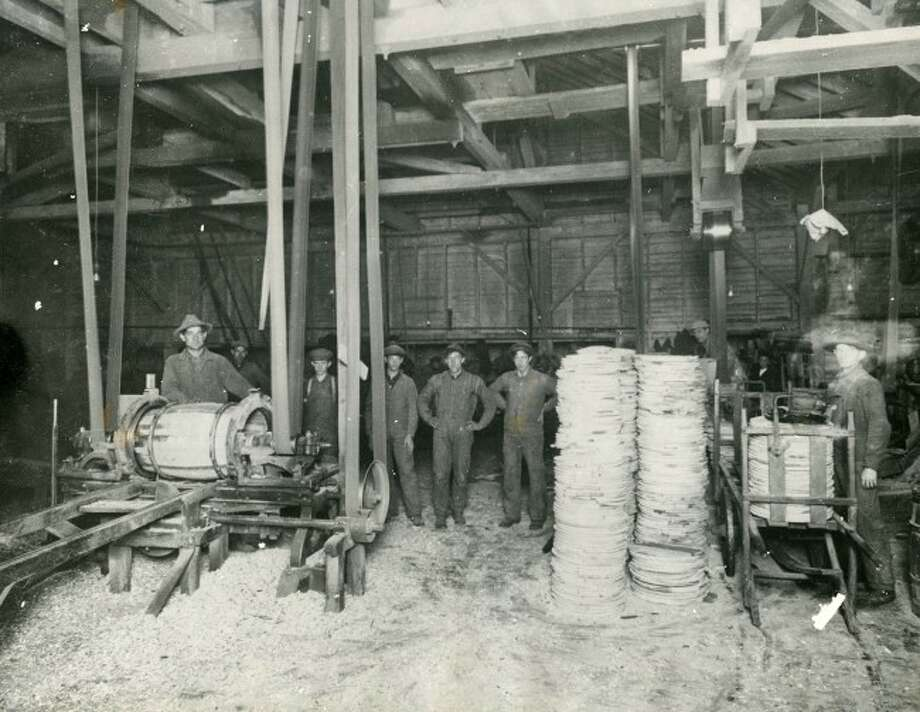 The Cooper Shop of the Ruggles and Rademaker Cooper Shop is shown in this 1925 photograph.
