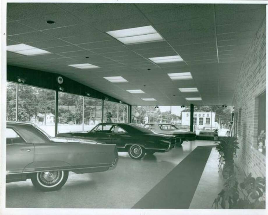 The showroom at Mowry Buick Pontiac in Parkdale is shown in this 1960s photograph. It was located in the current Oak Grove Funeral Home and Cremation Center.