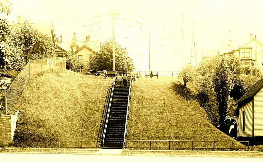 At one time a stairway went down the hill to connect Pine Street between First and Second streets in Manistee. (Courtesy Photo/Manistee County Historical Museum)