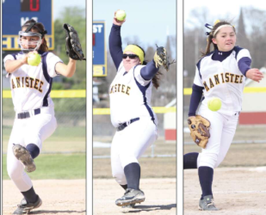 Manistee pitchers (from left to right) Jamee Fugere, Destiny Blake and Haley Maser comprise a strong staff. (Matt Wenzel/News Advocate file photos)