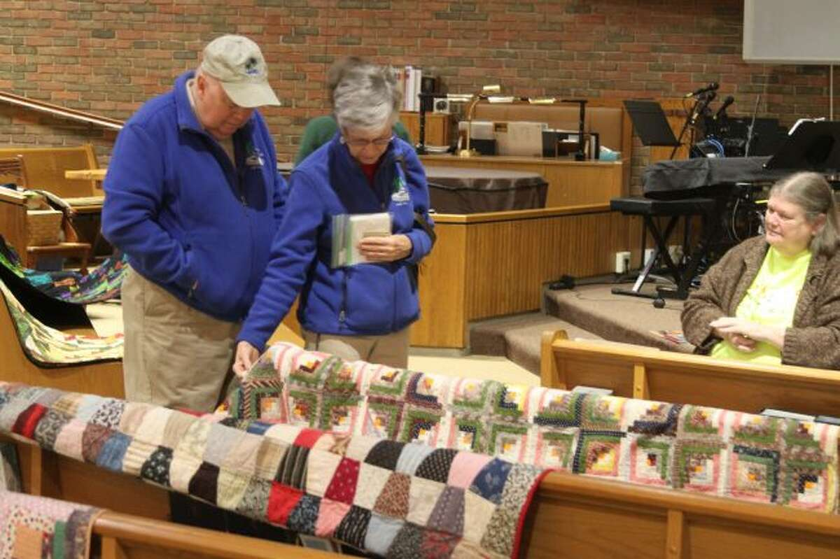 Beautiful quilts were sold during the United Methodist Church Harvest Bazaar on Saturday with the proceeds going to help women and children's program throughout the world and locally.