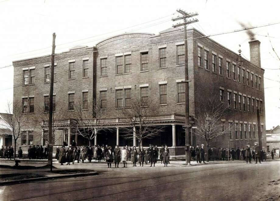 The Cooper Underwear Company was located in the Briny Inn Building and its employees are shown int his 1923 photograph.