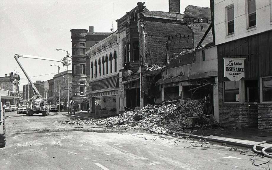 The aftermath of the fire that destroyed the Town and Country Furniture Store on River Street in 1977. (Courtesy Photo/Manistee County Historical Museum)