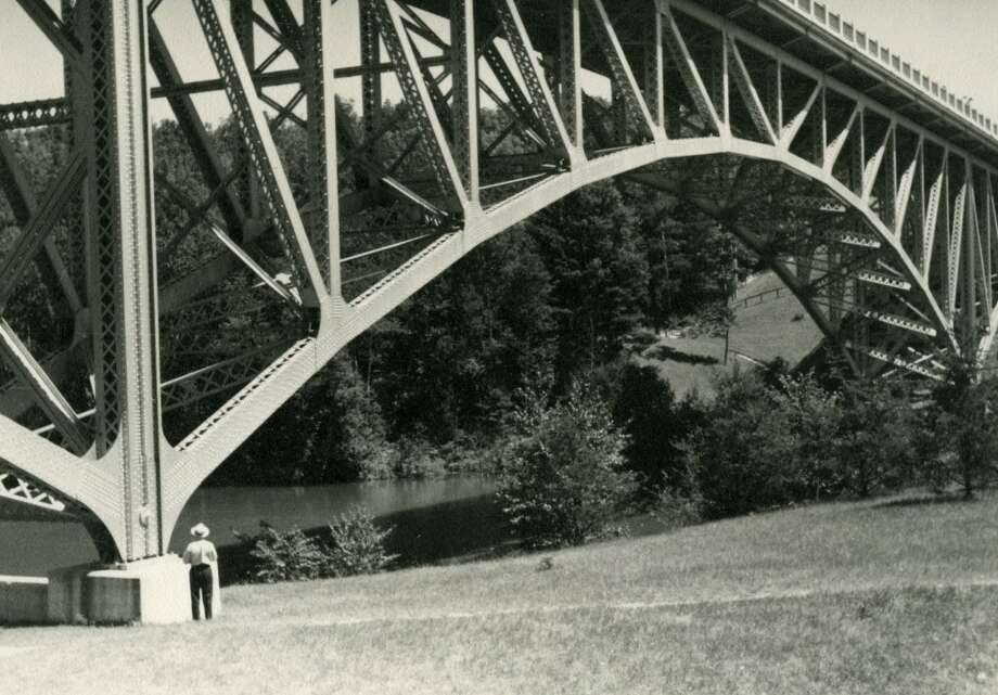 A 1940s photo of the Cooley Bridge, on M-55 over the Pine River just east of Wellston. (Courtesy Photo/Manistee County Historical Society)