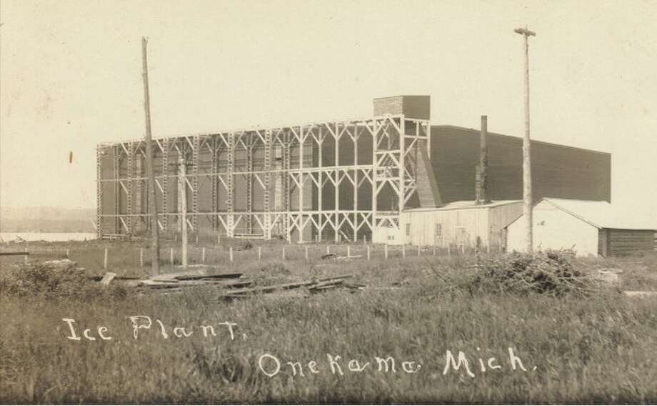 The Onekama Ice Factory is located in this 1890 photograph.
