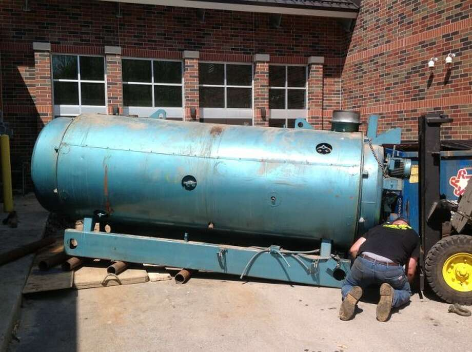 Shown is one of the boilers that were removed from the Onekama Consolidated Schools. The district is doing several projects this summer including replacing the boilers and certain sections of the roof.