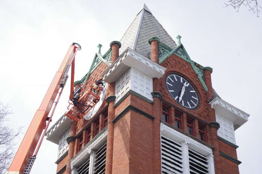 The clock faces at the First Congregational Church have been in need of painting for several years. The clock was installed in the early 1900s by Manistee clockmaker Nels Johnson. (Dave Yarnell/News Advocate)