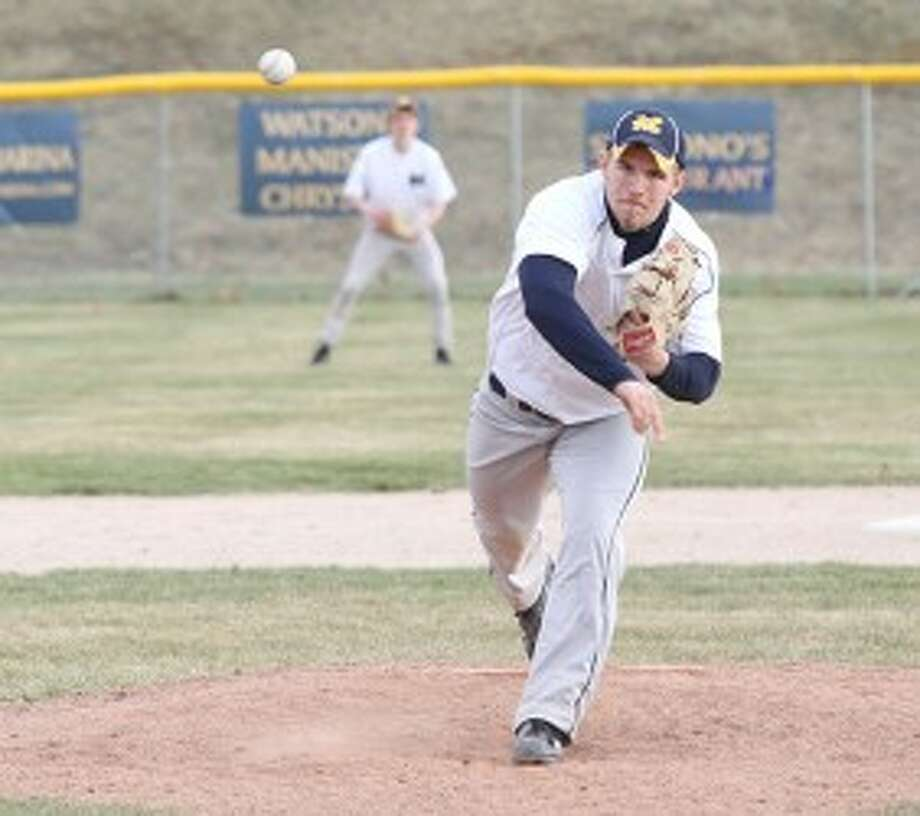 Manistee's Mason Swidorski throws a pitch during the second game of Friday's doubleheader against Pine River. (Matt Wenzel/News Advocate)