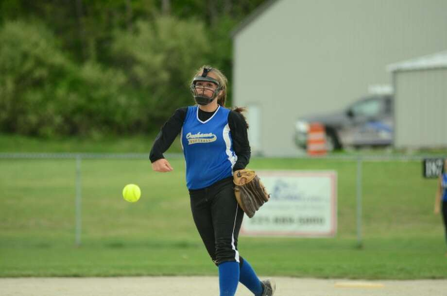 Onekama junior Ashley Kubiskey delivers to the plate. Kubiskey did not give up an earned run in league play this season.