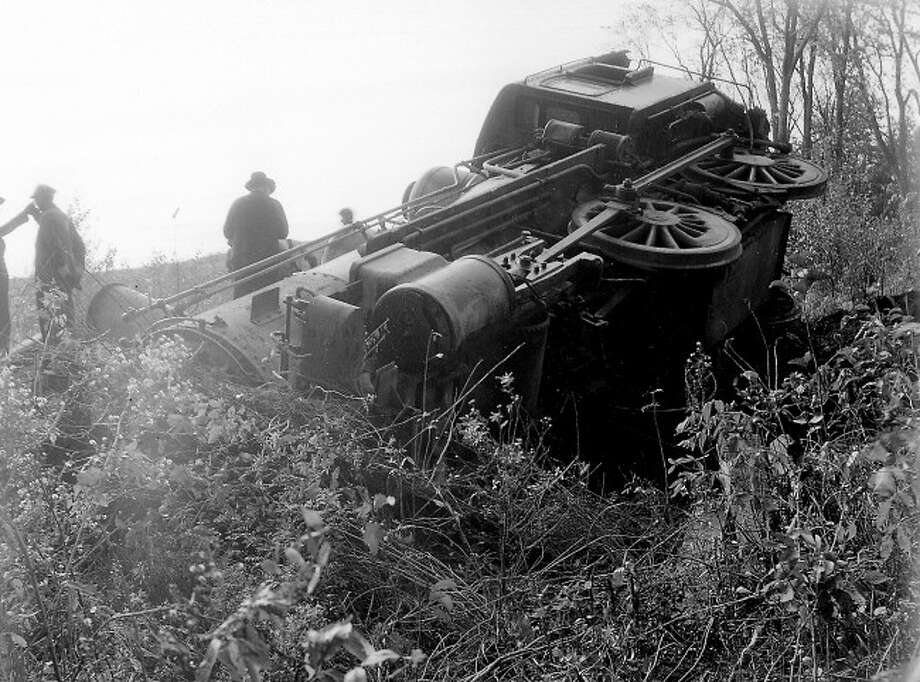 An engine from the M&N.E. railroad is shown in this crash from the 1920s in Manistee County.