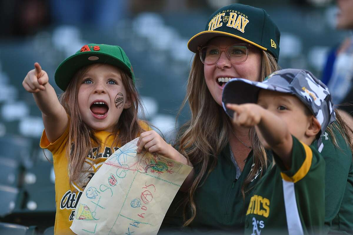 OAKLAND, CA - JULY 02: Oakland Athletics fans during the Major League Baseball game between the Minnesota Twins and the Oakland Athletics at the Oakland-Alameda County Coliseum on July 2, 2019 in Oakland, CA. (Photo by Cody Glenn/Icon Sportswire via Getty Images)