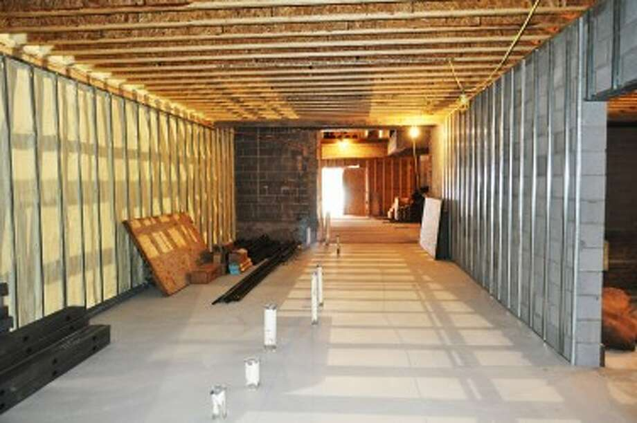 Renovations on the Vogue Theatre started in February. Since then, concrete has been poured and walls have been installed as the theater starts to take its shape. Shown is the corridor between the lobby and theater where the bathrooms and drinking fountains will be placed.