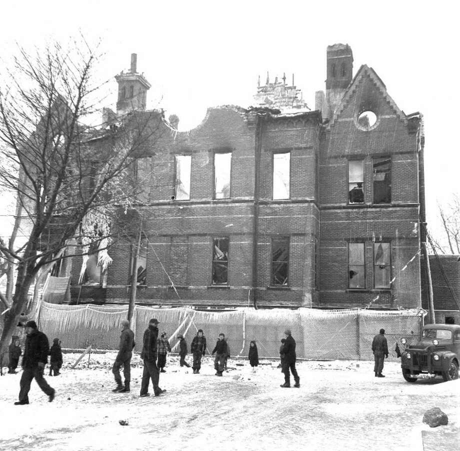 The remnants of the former courthouse was destroyed by fire in 1950.