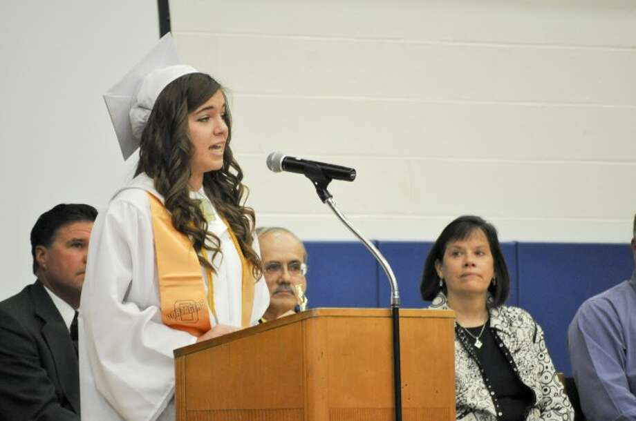 Valedictorian Brittany Trombley said that her class has grown as a family over the last year during her address on Sunday at Onekama Consolidated Schools' 115th commencement.