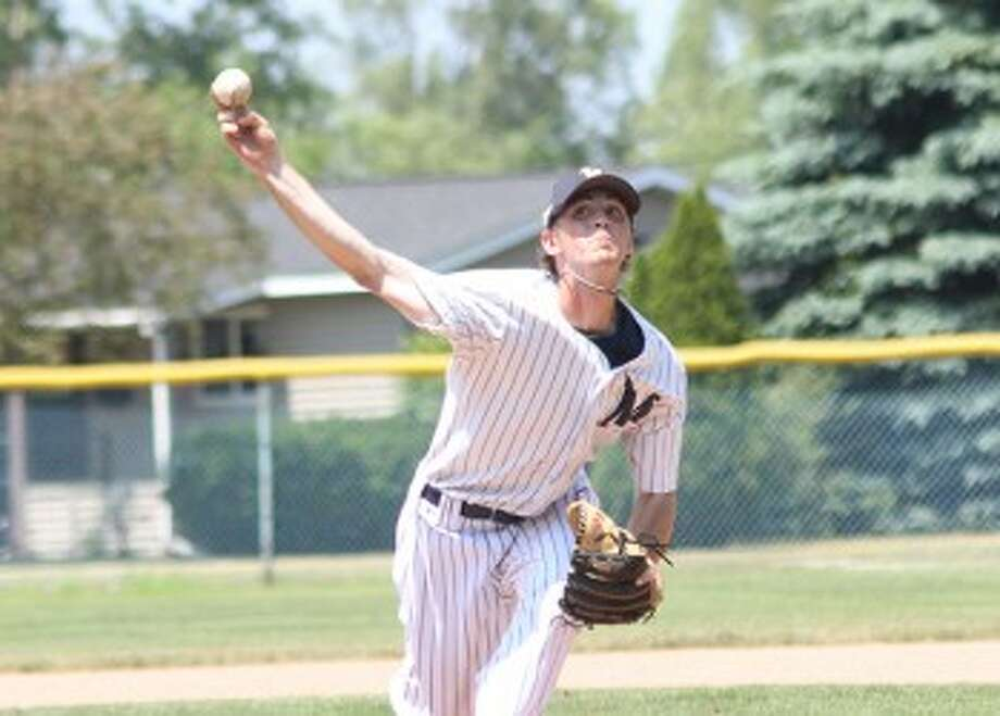 Roddy MacNeil, a 2011 Brethren graduate who recently completed his sophomore season at Alma College, will return to the Saints pitching staff this season. (Matt Wenzel/News Advocate file photo)
