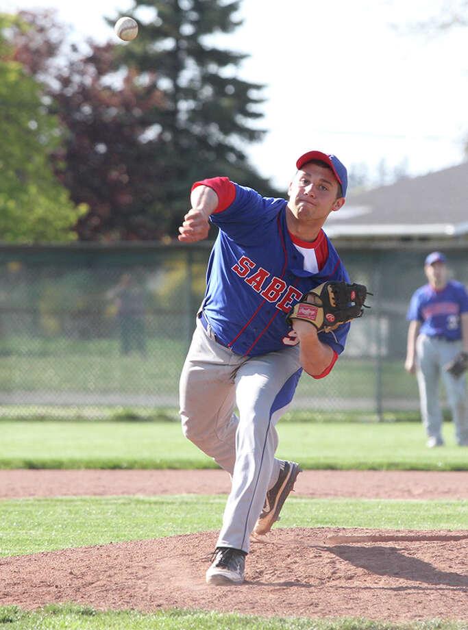 Manistee Catholic Central's Mason Clark threw a no-hitter in the opener against Baldwin on Thursday. (Matt Wenzel/News Advocate)