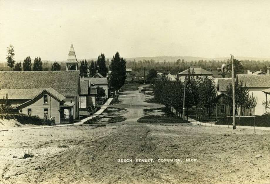 The view from Beech Street in Copemish is shown in this early 1900 photograph.