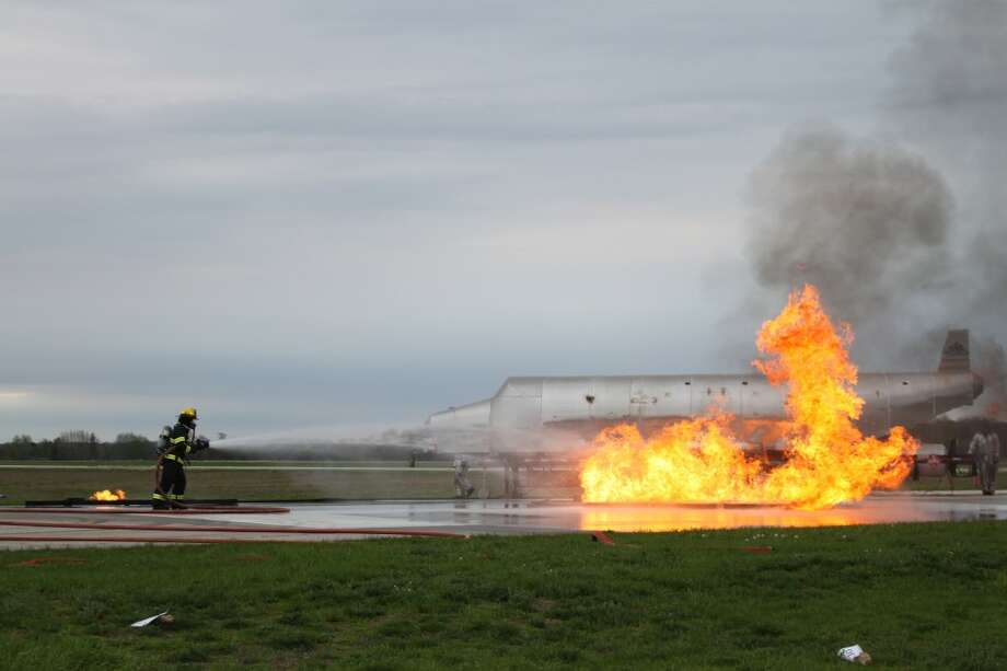 Eight fire departments took part in a trianing exercise at the Manistee County Blacker Airport on Friday and Saturday. A crash simulator was brought in and high school students volunteered as victims.